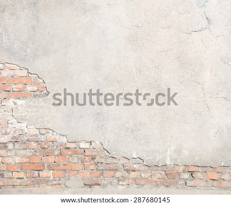 damaged brick wall texture grunge background - stock photo