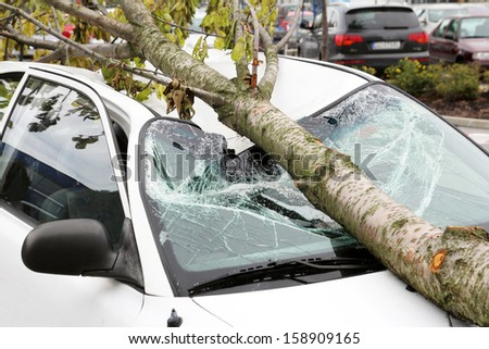 damaged car - stock photo