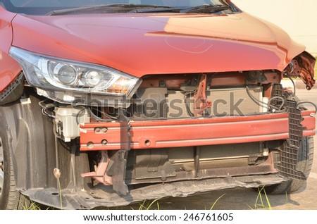 Damaged car. - stock photo