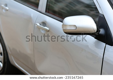 damaged car after accident  - stock photo