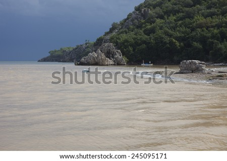 Damaged Car flooded in the Ocean - Flood Disaster in Olympos, Turkey, Asia - stock photo