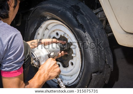 Damaged car tires