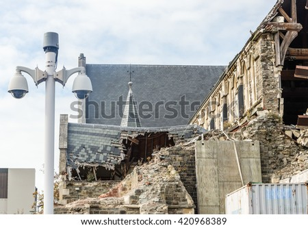 Damaged Christchurch Cathedral demolished by earthquake in February 2010 - stock photo