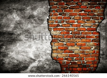 damaged concrete wall - stock photo