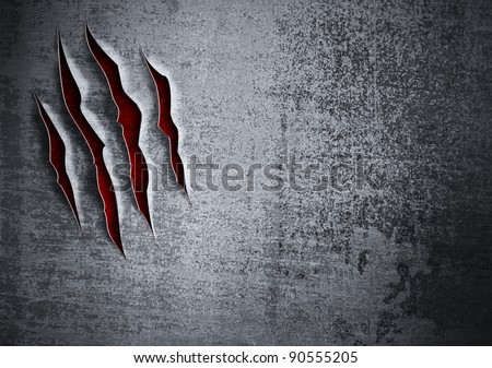 Damaged grunge metal wall concept - stock photo
