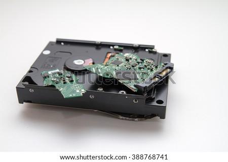 Damaged hard drive - stock photo