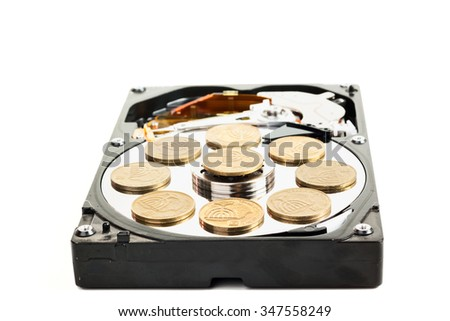 Damaged hard without cover disk with israeli coins isolated on white background - stock photo