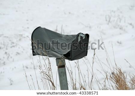 damaged mailbox - stock photo