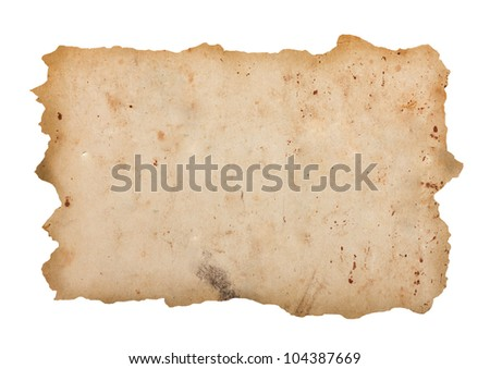 Damaged old paper sheet - stock photo