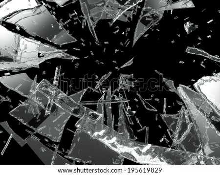 Damaged or broken glass on black background