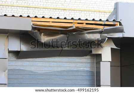 damaged ramp for loading. loading docks. damaged roof. damaged roller shutters or roller door