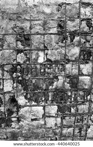 damaged reinforced concrete - stock photo