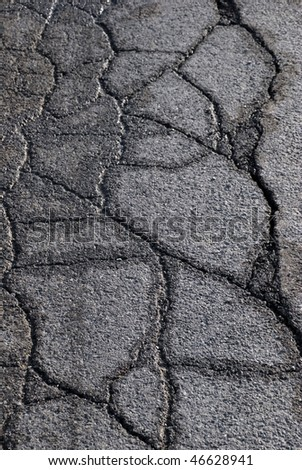 Damaged road because of frost - stock photo