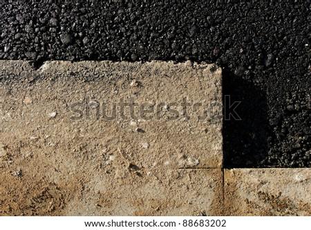 Damaged road repair, horizontal photo. - stock photo
