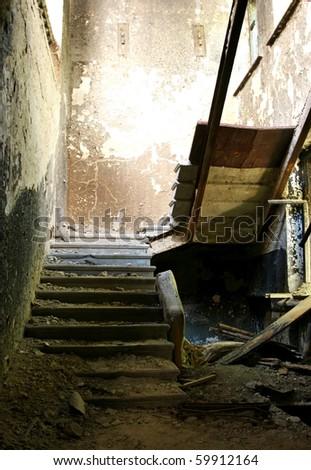 damaged stairs - stock photo