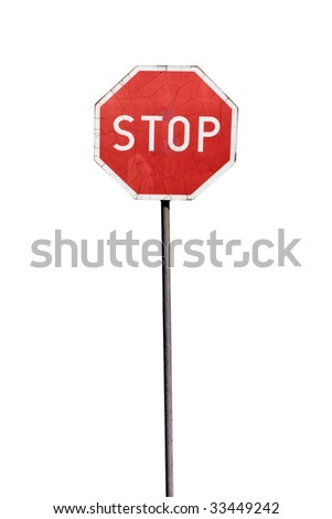 Damaged stop sign, isolated on the white background - stock photo