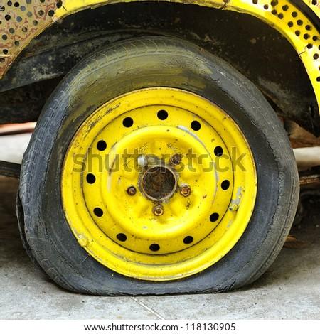 Damaged tire. - stock photo