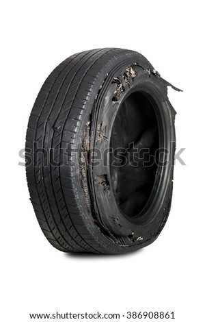 Damaged truck tire after tire explosion