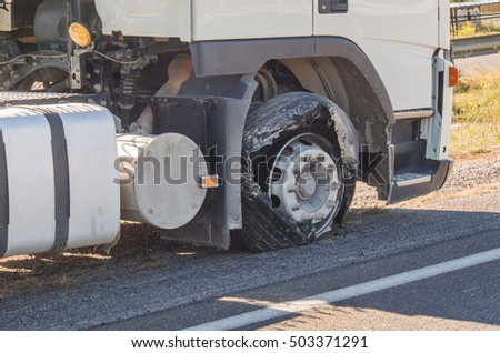 damaged truck tire after tire explosion at high speed