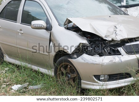 Damaged vehicle after car accident - stock photo