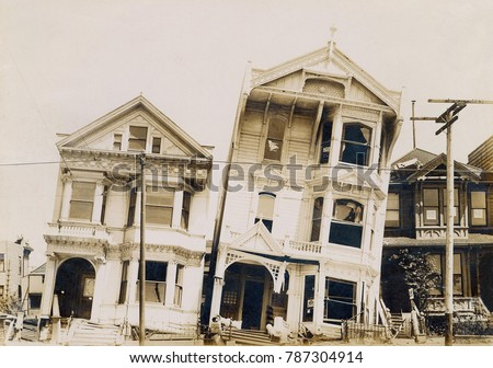 Damaged wood houses after the San Francisco Earthquake, April 18, 1906. They were built on land fill composed of wooden ships and dredged sand in the eastern part of the city, and were subject to liqu