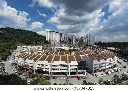 Damansara Perdana - November 2015: Condo and shop and landscape on November 14, 2015 in Damansara Perdana, Malaysia. One of the well develop area in Petaling Jaya area.