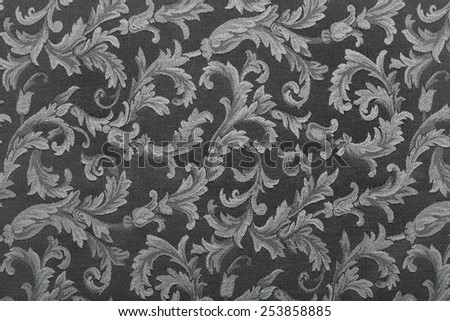 Damask, black pattern texture background - stock photo