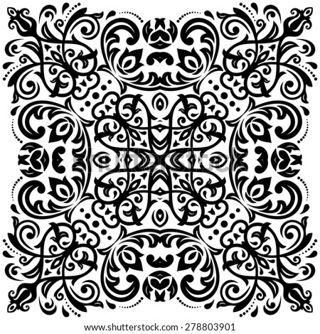 Damask  floral pattern with arabesque and oriental black elements. Abstract traditional ornament for backgrounds - stock photo