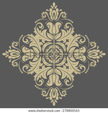 Damask  floral pattern with arabesque and oriental golden elements. Abstract traditional ornament for backgrounds - stock photo