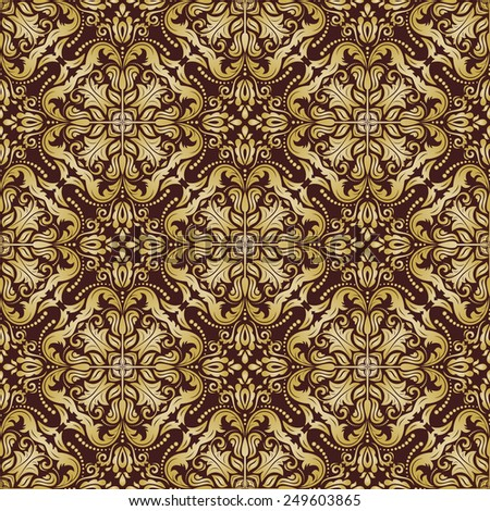 Damask  floral pattern with arabesque and oriental golden elements. Seamless abstract traditional ornament for wallpapers and backgrounds