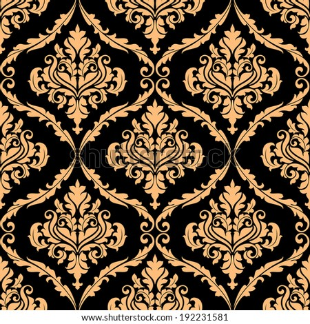Damask floral pattern with brown colors for background design. Vector version also available in gallery - stock photo