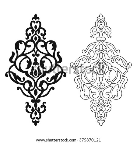 damask graphic element vector stock vector 215616976 shutterstock. Black Bedroom Furniture Sets. Home Design Ideas