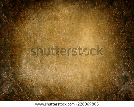 damask grunge vintage background with patina - stock photo
