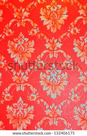 Damask red background - stock photo