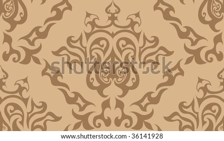Damask seamless background. For easy making seamless pattern just drag all group into swatches bar, and use it for filling any contours. In my portfolio you can find vector version of this picture.