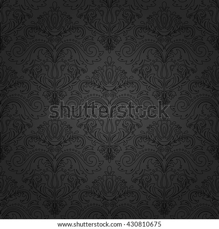 Damask seamless dark ornament with black outlines. Traditional pattern. Classic oriental background