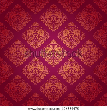 Damask seamless floral pattern. Floral ornament on a red background.