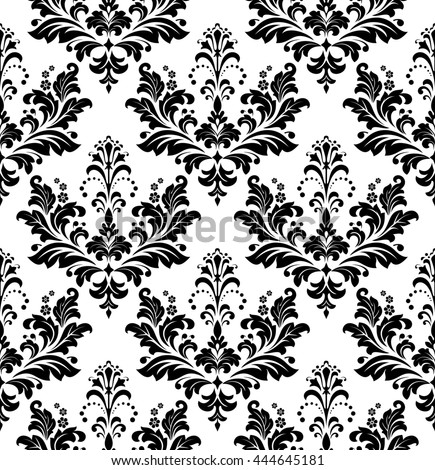 Damask Seamless Floral Pattern Royal Wallpaper Black Flowers On A Transparent Background Stylish