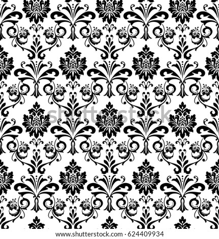 Damask Seamless Floral Pattern Royal Wallpaper Flowers On A Black And White Background