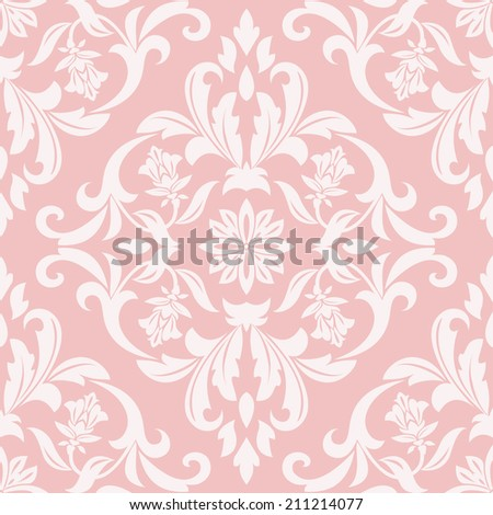 Damask Seamless Floral Pattern Royal Wallpaper Flowers On A Pink Background