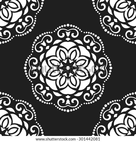 Damask seamless ornament. Fine  traditional oriental black and white pattern
