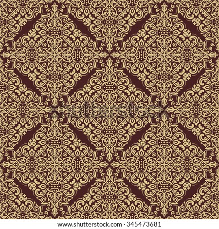 Damask seamless ornament. Traditional pattern. Classic oriental brown and golden background