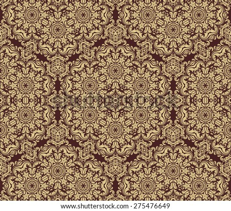 Damask seamless pattern. Fine  traditional ornament with golden oriental elements for backgrounds