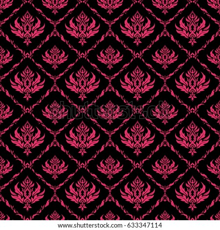 Damask Seamless Pattern In Pink Colors Royal Wallpaper Abstract On A Black Background