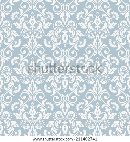 Damask seamless  pattern in the style of Baroque.Royal wallpaper. Flowers on a blue background. - stock photo