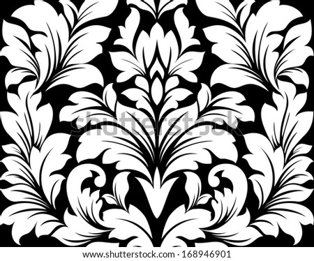 Damask seamless pattern with retro floral elements. Vector version also available in gallery - stock photo