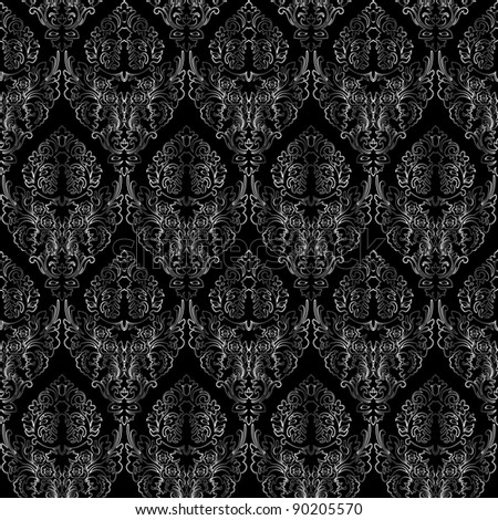 damask seamless texture, abstract grayscale texture; art illustration - stock photo