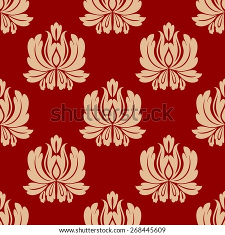 Damask style repeat floral design in a seamless arabesque pattern on a red background in square format - stock photo