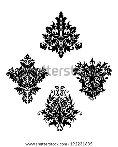Damask vintage floral patterns isolated on white background for design and ornate. Vector version also available in gallery - stock photo