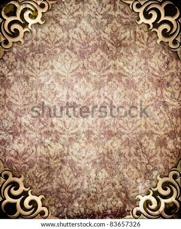 Damask wallpaper (classical ornament) - stock photo